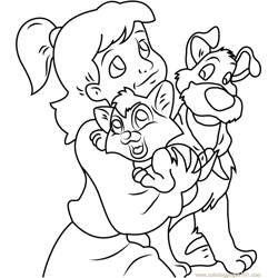 Oliver and Dodger with Jenny Free Coloring Page for Kids