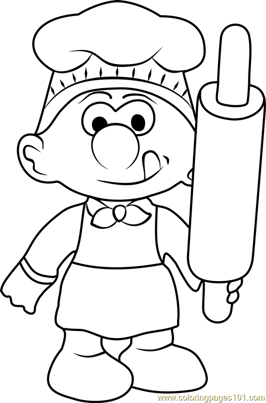 Baker Smurf Coloring Page