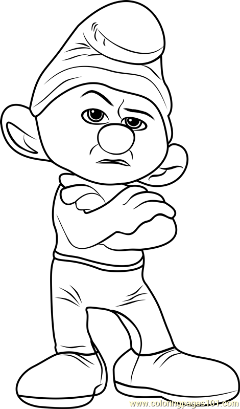 Grouchy Smurf Coloring Page Free Smurfs The Lost