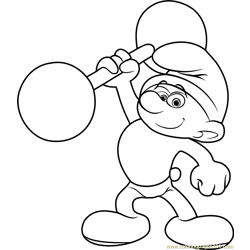Hefty Smurf Free Coloring Page for Kids