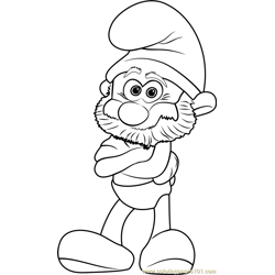 Papa Smurf Free Coloring Page for Kids