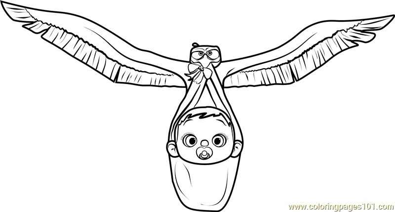 stork with baby coloring pages - photo#28