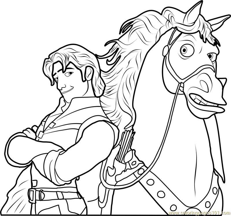 Flynn With Maximus Coloring Page Free Tangled Coloring