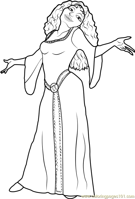 Mother Gothel Coloring Page Free Tangled Coloring Pages