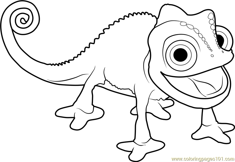 Pascal the Chameleon Coloring Page Free Tangled Coloring Pages