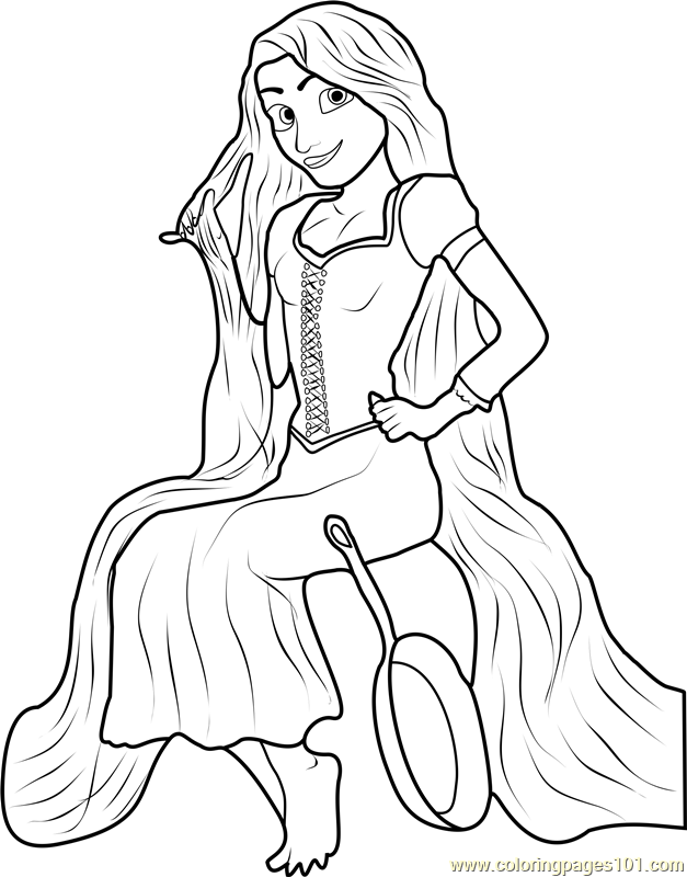 Rapunzel Sitting Coloring Page