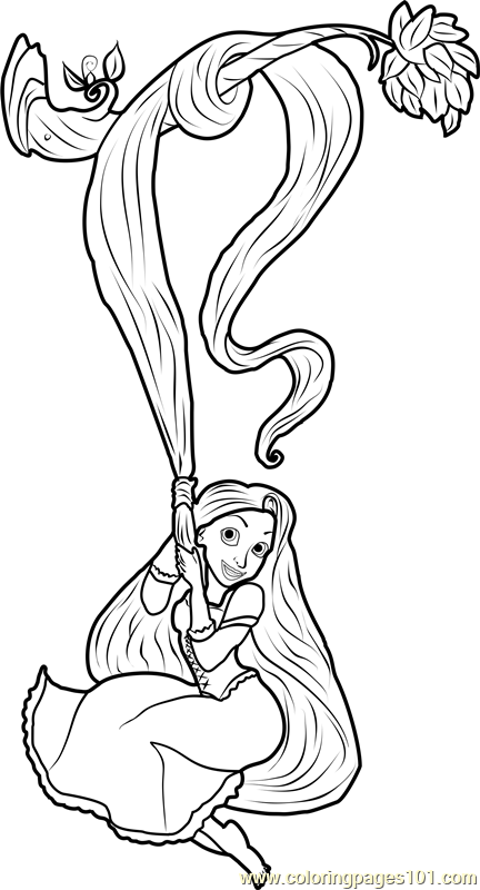 Rapunzel Swinging Coloring Page Free Tangled Coloring
