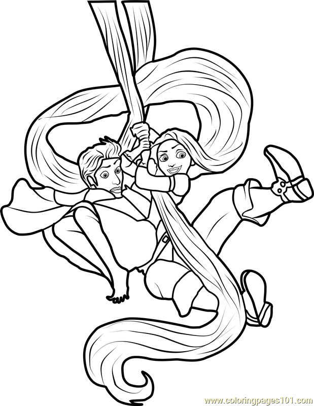rapunzel and flynn tangled coloring page free tangled