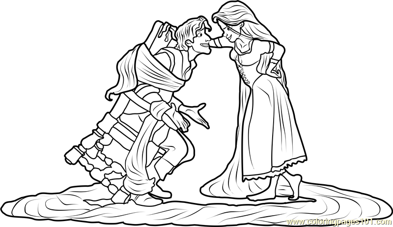 Rapunzel tied Flynn Coloring Page