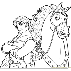 Flynn with Maximus Free Coloring Page for Kids