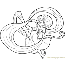 Rapunzel Hair Free Coloring Page for Kids