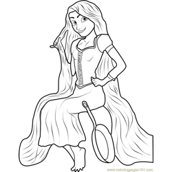 Rapunzel Sitting Free Coloring Page for Kids