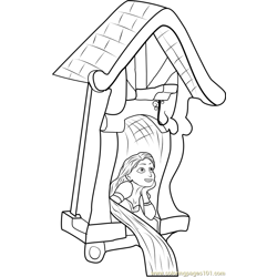 Rapunzel in Castle Free Coloring Page for Kids