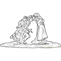 Rapunzel tied Flynn Free Coloring Page for Kids
