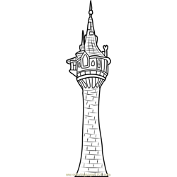 Rapunzel's Tower Free Coloring Page for Kids