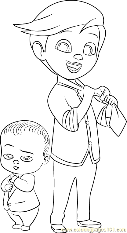 Tim And Boss Baby Coloring Page Free The Boss Baby