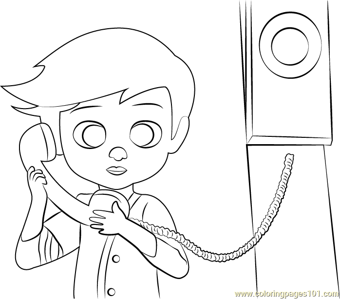 Tim on Phone Coloring Page Free