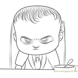 Angry Boss Baby Free Coloring Page for Kids