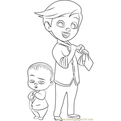 Tim and Boss Baby Free Coloring Page for Kids
