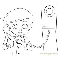 Tim on Phone Free Coloring Page for Kids