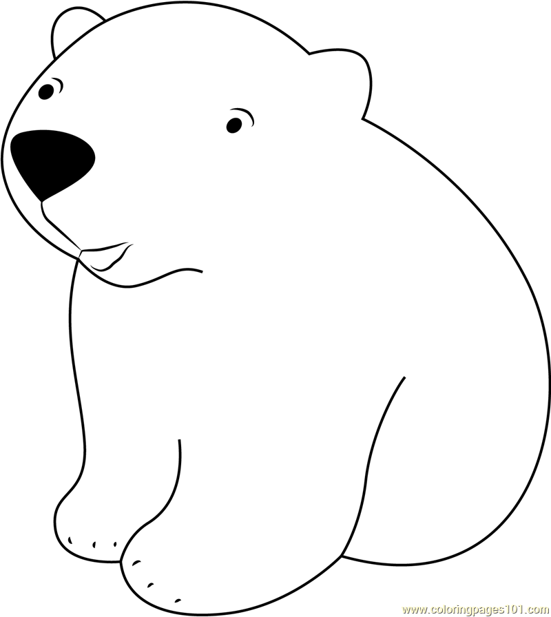 best baby polar bear coloring page with polar animals