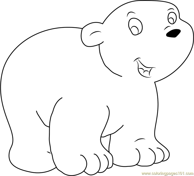 Happy Little Polar Bear Coloring Page - Free The Little Polar Bear ...