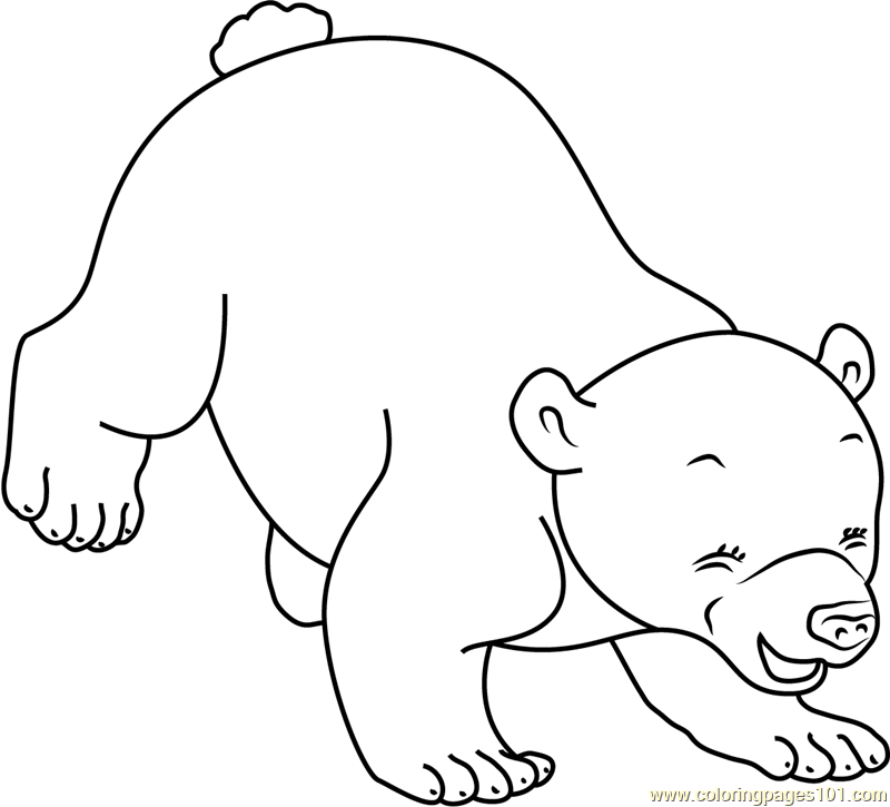 Little Polar Bear Playing Coloring