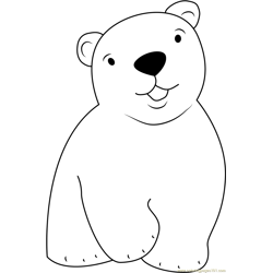 Cute Little Polar Bear Free Coloring Page for Kids