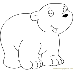 Happy Little Polar Bear Free Coloring Page for Kids