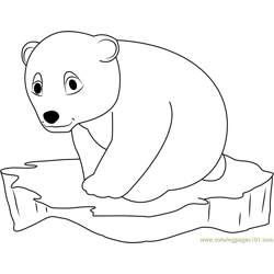 Little Polar Bear on Ice Surface Free Coloring Page for Kids