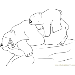 Little Polar Bear with his Mom having Fun Free Coloring Page for Kids