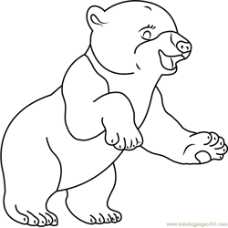 Smiling Polar Bear Free Coloring Page for Kids