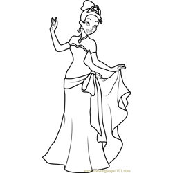 Tiana Free Coloring Page for Kids