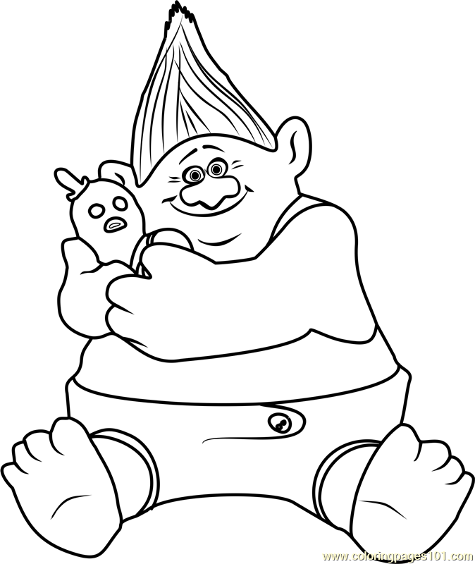 Biggie from trolls coloring page free trolls coloring for Trolls smidge coloring page