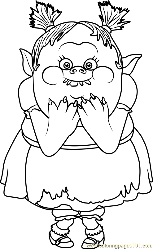 Bridget from trolls coloring page
