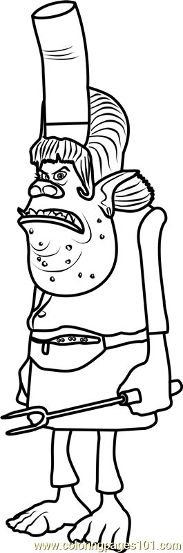 Chef from Trolls Coloring Page Free Trolls Coloring Pages