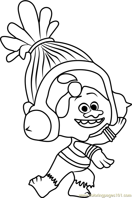 DJ Suki from Trolls Coloring Page Free Trolls Coloring