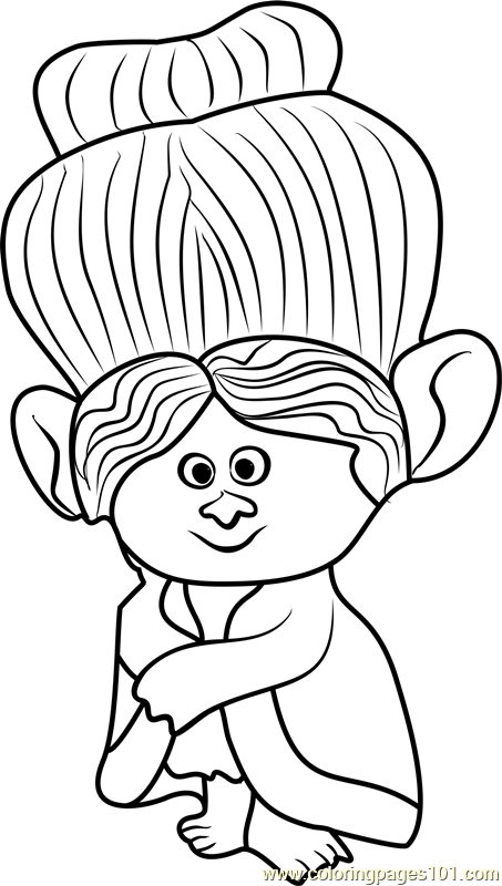 Beautiful Grandma Rosiepuff From Trolls Coloring Page
