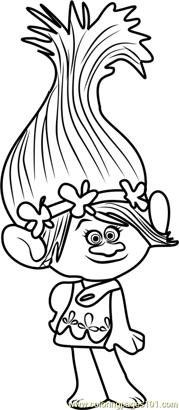 Princess Poppy from Trolls Coloring Page - Free Trolls Coloring ...