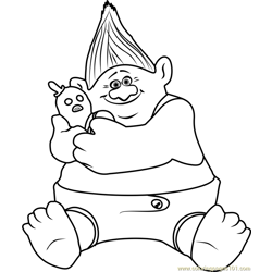 Biggie from Trolls Free Coloring Page for Kids