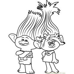 Branch from Trolls Free Coloring Page for Kids