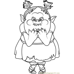 Bridget from Trolls Free Coloring Page for Kids