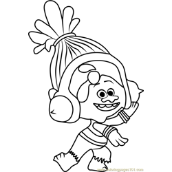 DJ Suki from Trolls Free Coloring Page for Kids
