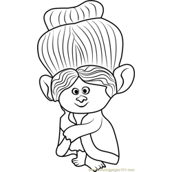 Grandma Rosiepuff from Trolls Free Coloring Page for Kids