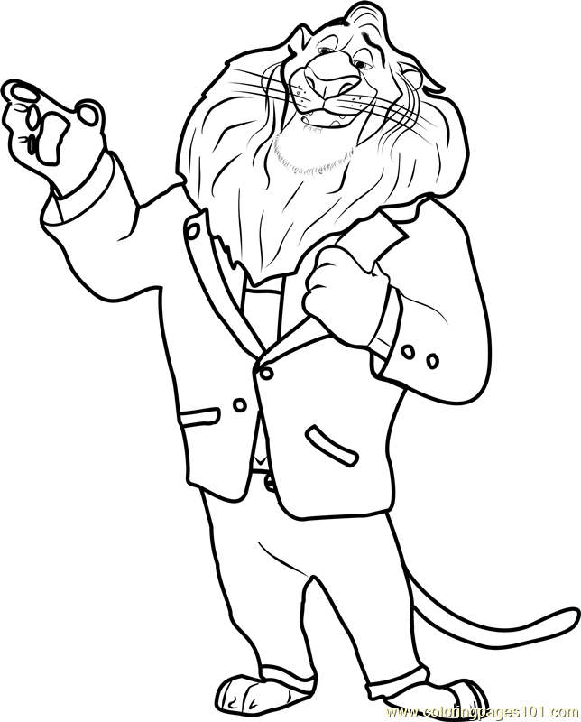 Mayor Lionheart Coloring Page Free Zootopia Coloring