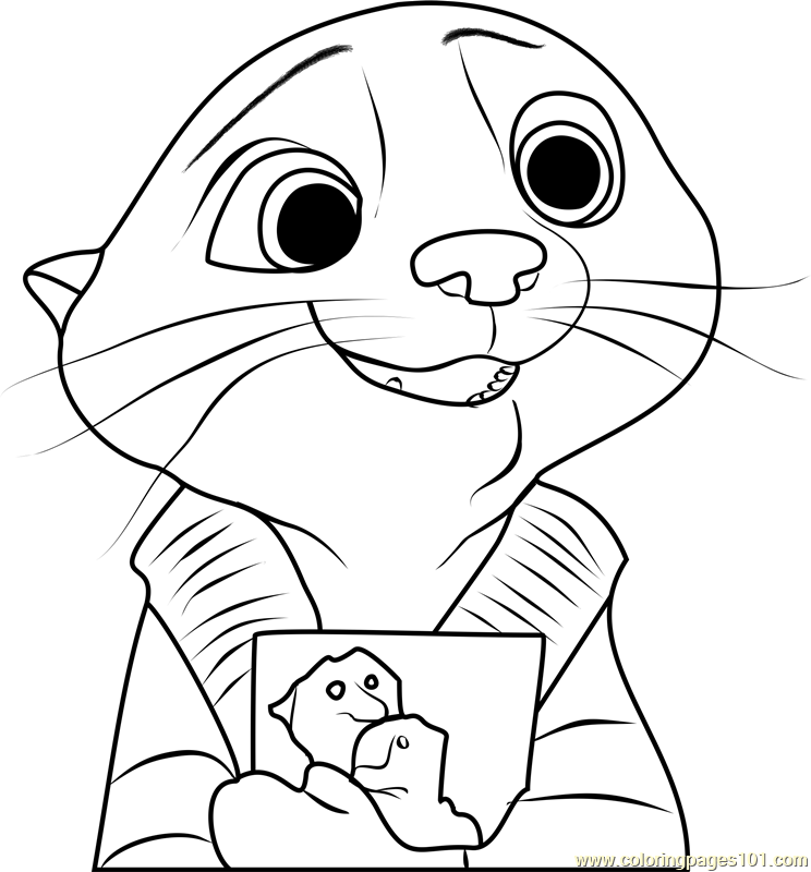 Mrs Otterton Coloring Page Free Zootopia Coloring Pages