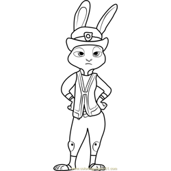 Judy Hopps Free Coloring Page for Kids
