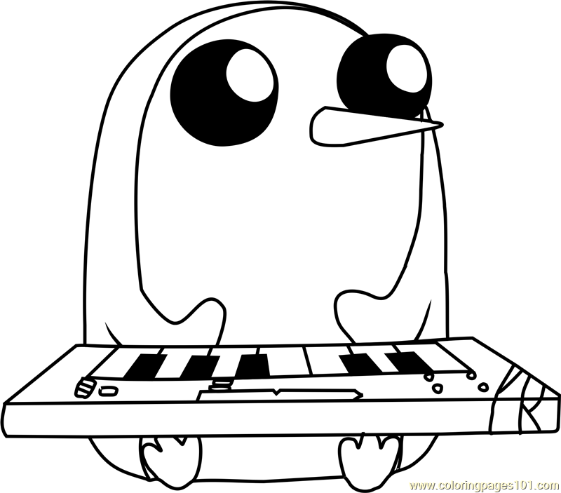 Gunter With Keyboard Coloring Page Free Adventure Time
