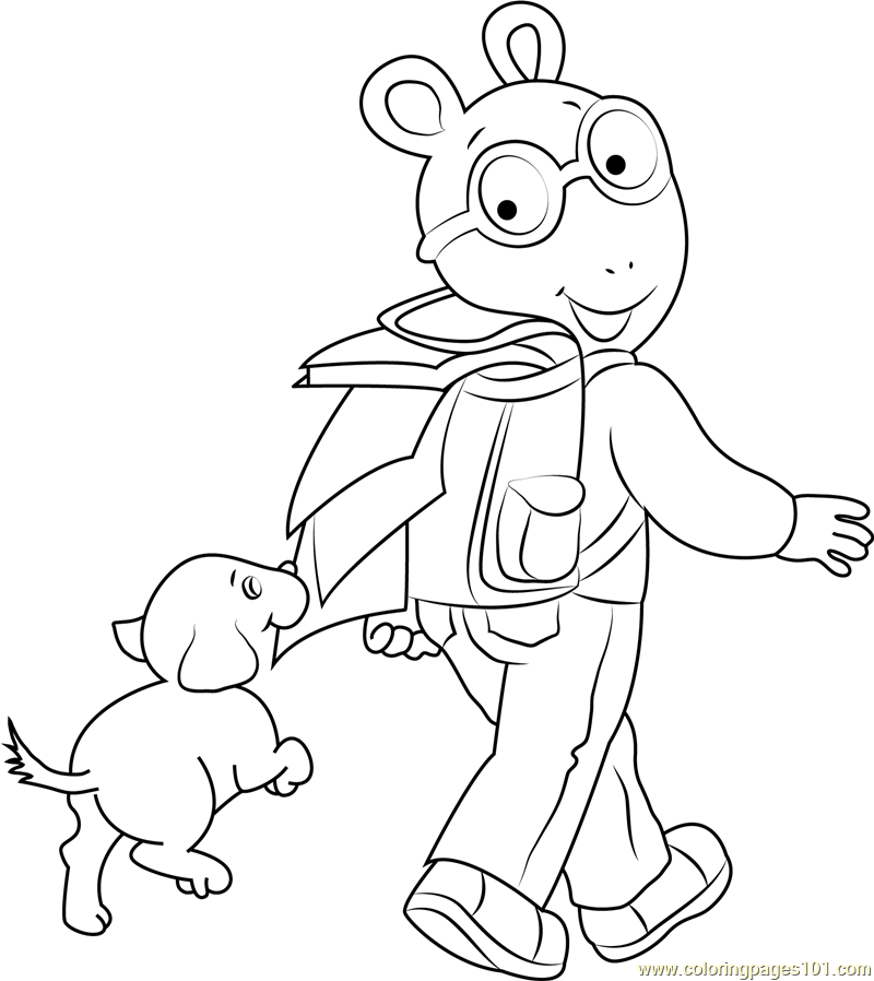 Arthur Going to School Coloring Page