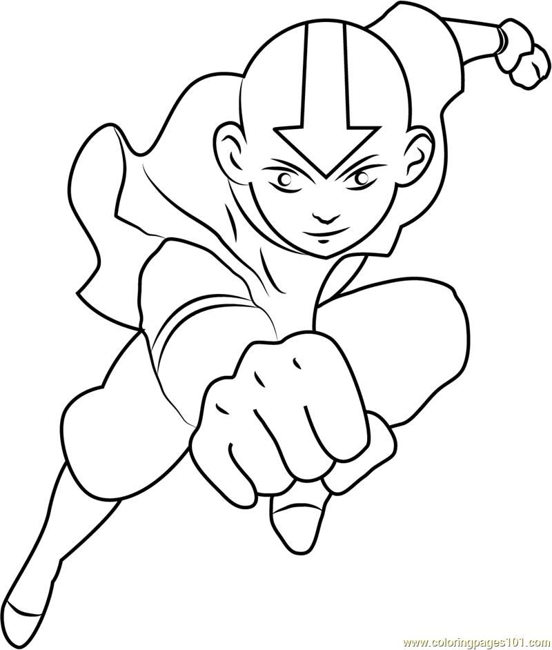 Avatar Aang Coloring Page: Flying Avatar Aang Coloring Coloring Pages